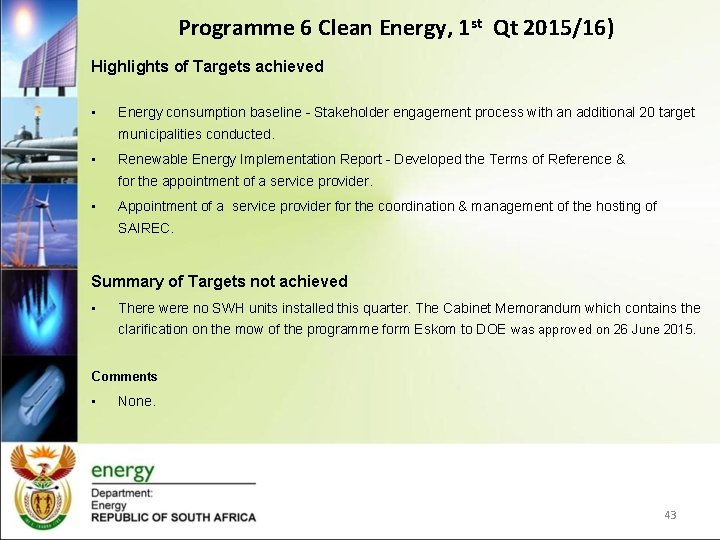 Programme 6 Clean Energy, 1 st Qt 2015/16) Highlights of Targets achieved • Energy