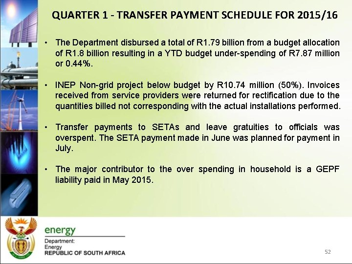 QUARTER 1 - TRANSFER PAYMENT SCHEDULE FOR 2015/16 • The Department disbursed a total
