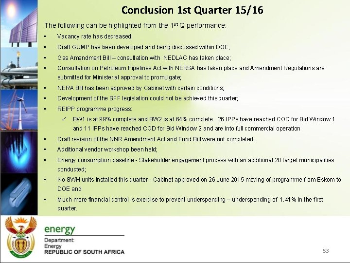 Conclusion 1 st Quarter 15/16 The following can be highlighted from the 1 st