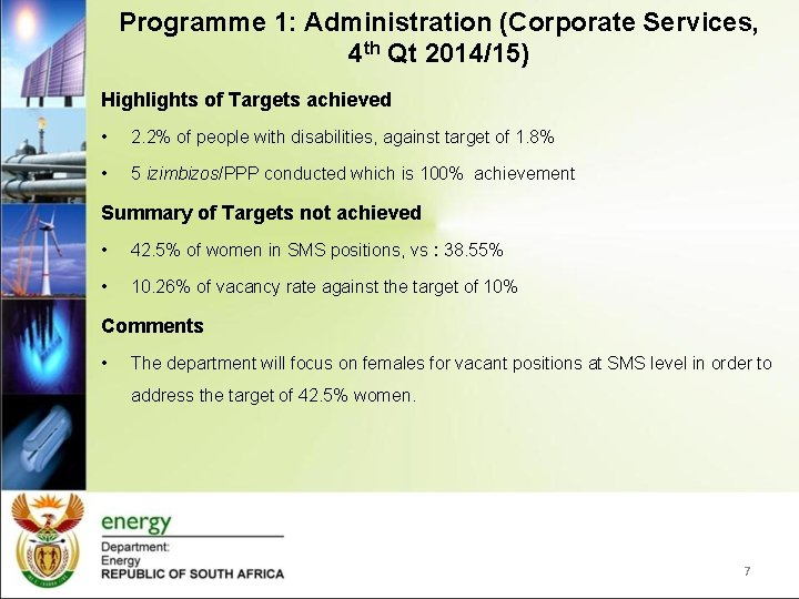Programme 1: Administration (Corporate Services, 4 th Qt 2014/15) Highlights of Targets achieved •