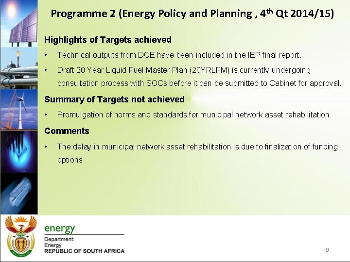 Programme 2 (Energy Policy and Planning , 4 th Qt 2014/15) Highlights of Targets