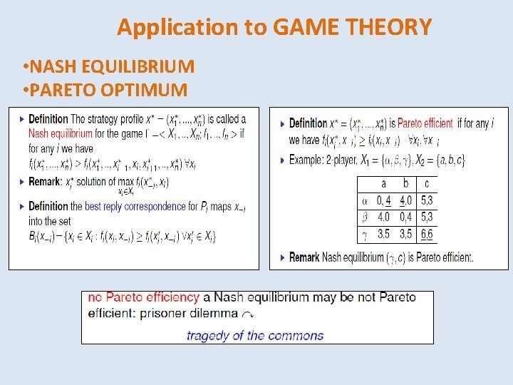 Application to GAME THEORY • NASH EQUILIBRIUM • PARETO OPTIMUM