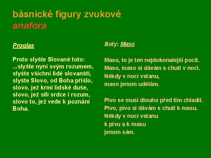 básnické figury zvukové anafora Proglas Proto slyšte Slované toto: . . . slyšte nyní
