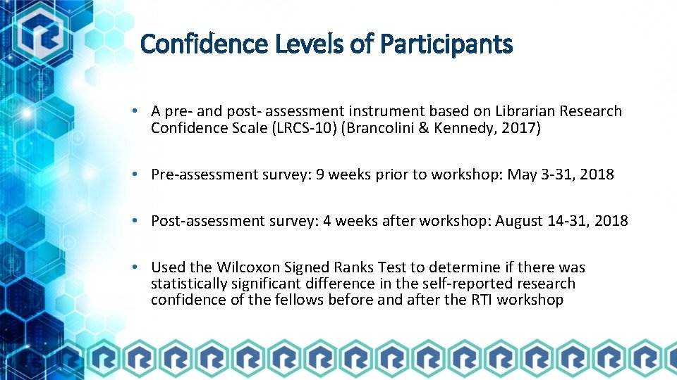 Confidence Levels of Participants • A pre- and post- assessment instrument based on Librarian