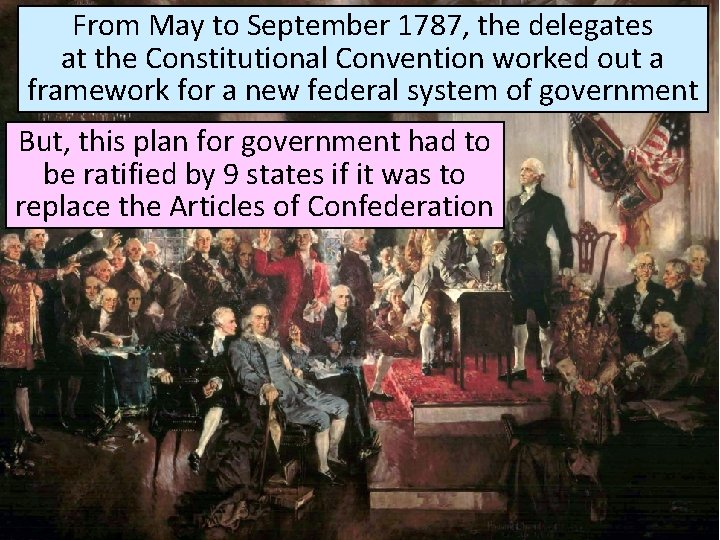 From May to September 1787, the delegates at the Constitutional Convention worked out a