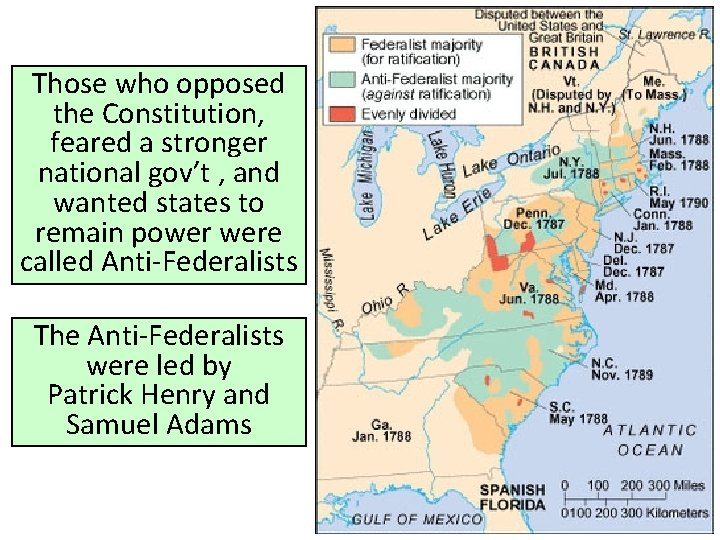 Those who opposed the Constitution, feared a stronger national gov't , and wanted states
