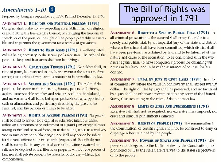 The Bill of Rights was approved in 1791