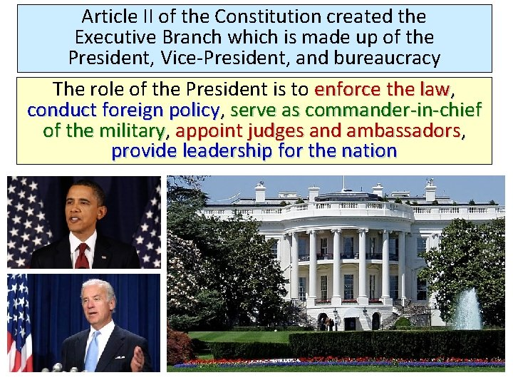 Article II of the Constitution created the Executive Branch which is made up of