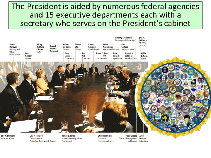 The President is aided by numerous federal agencies and 15 executive departments each with