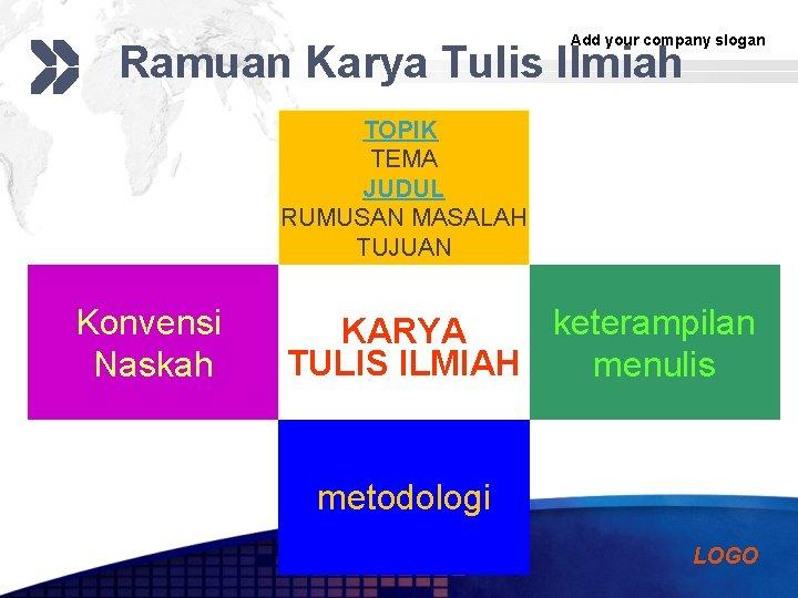 Add your company slogan Ramuan Karya Tulis Ilmiah TOPIK TEMA JUDUL RUMUSAN MASALAH TUJUAN