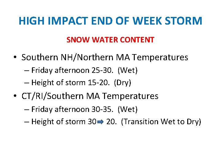 HIGH IMPACT END OF WEEK STORM SNOW WATER CONTENT • Southern NH/Northern MA Temperatures