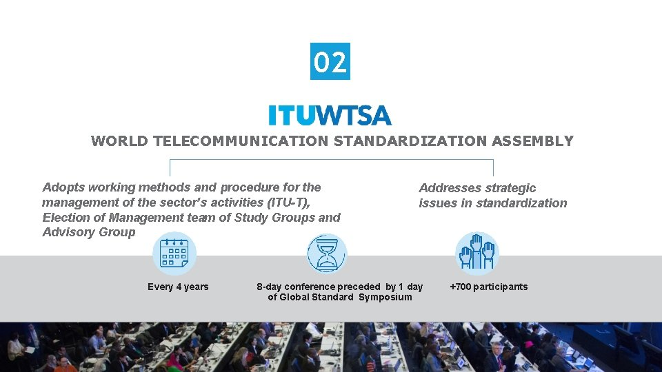 02 WORLD TELECOMMUNICATION STANDARDIZATION ASSEMBLY Adopts working methods and procedure for the management of