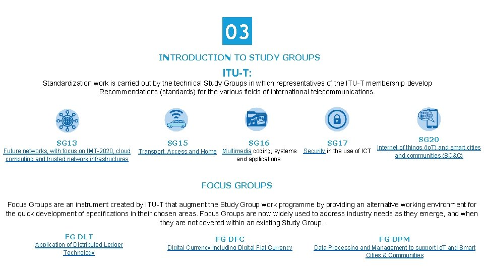 03 INTRODUCTION TO STUDY GROUPS ITU-T: Standardization work is carried out by the technical