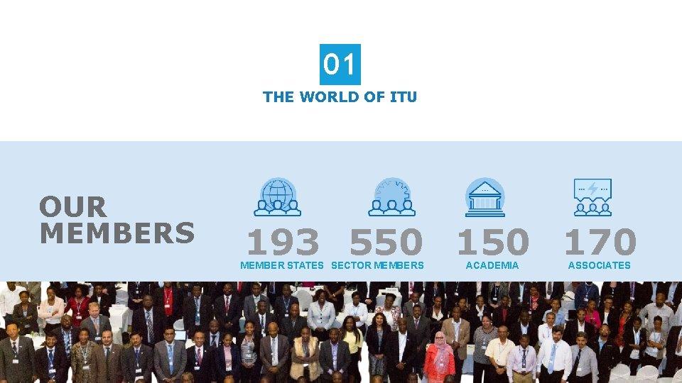 01 THE WORLD OF ITU OUR MEMBERS 193 550 170 MEMBER STATES SECTOR MEMBERS