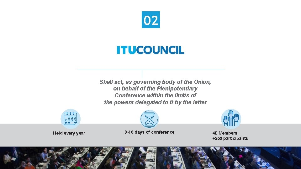 02 Shall act, as governing body of the Union, on behalf of the Plenipotentiary