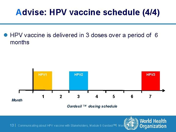 Advise: HPV vaccine schedule (4/4) l HPV vaccine is delivered in 3 doses over