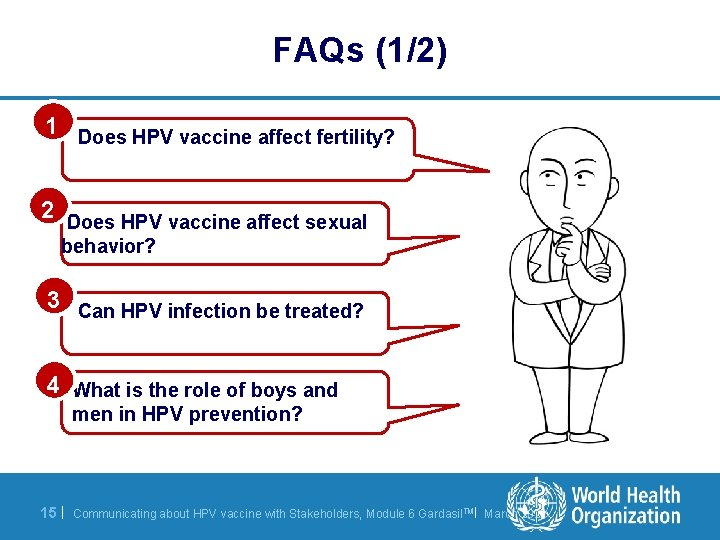 FAQs (1/2) 1 Does HPV vaccine affect fertility? 2 Does HPV vaccine affect sexual