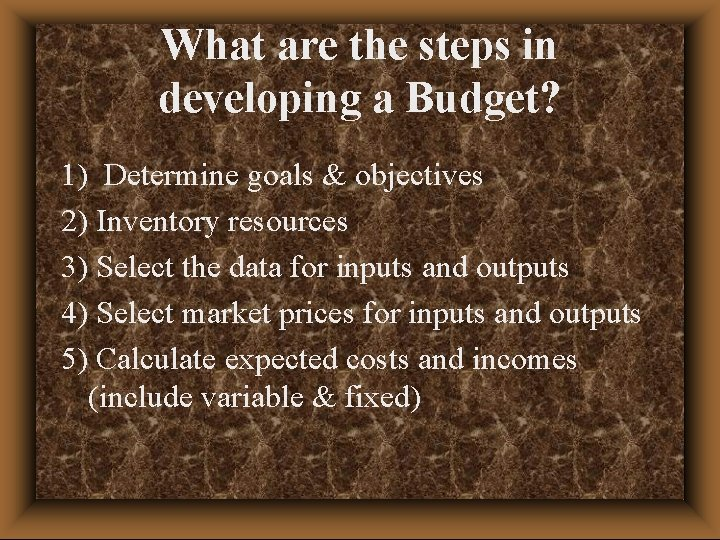 What are the steps in developing a Budget? 1) Determine goals & objectives 2)