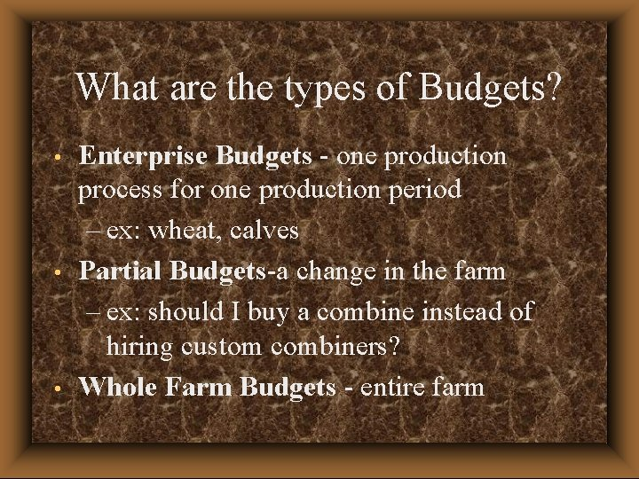 What are the types of Budgets? • • • Enterprise Budgets - one production