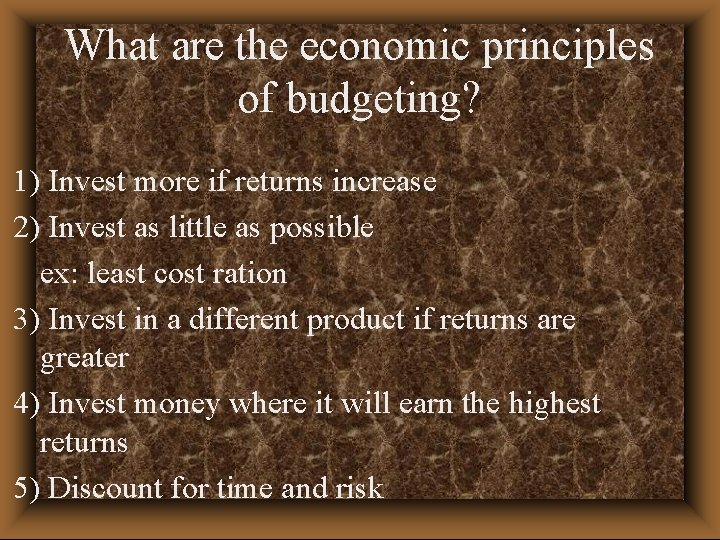 What are the economic principles of budgeting? 1) Invest more if returns increase 2)