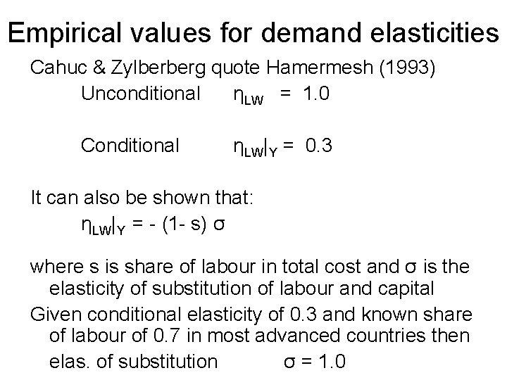 Empirical values for demand elasticities Cahuc & Zylberberg quote Hamermesh (1993) Unconditional ηLW =