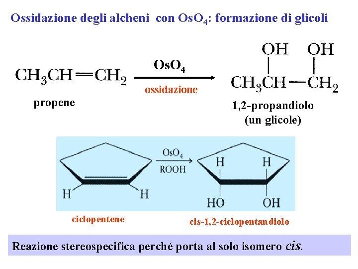 Ossidazione degli alcheni con Os. O 4: formazione di glicoli Os. O 4 propene