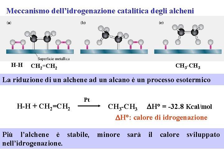 Meccanismo dell'idrogenazione catalitica degli alcheni H-H CH 3 -CH 3 CH 2=CH 2 La