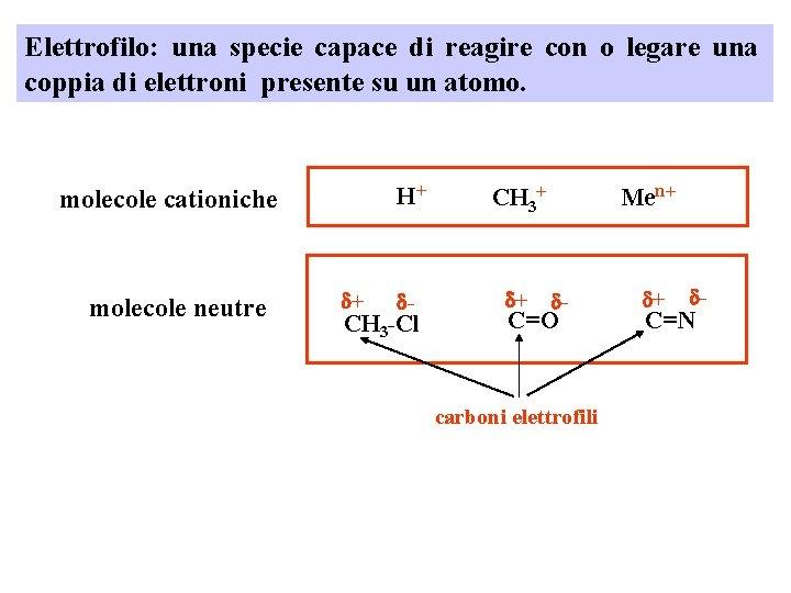 Elettrofilo: una specie capace di reagire con o legare una coppia di elettroni presente