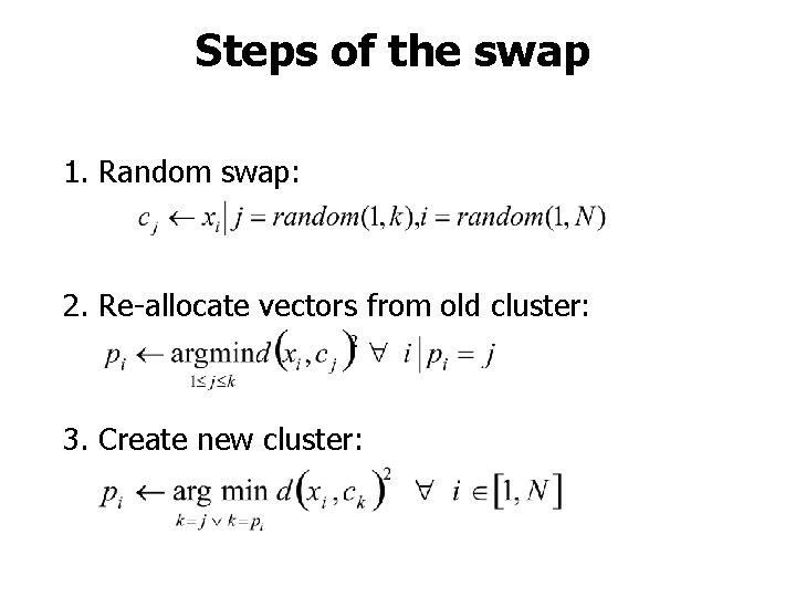 Steps of the swap 1. Random swap: 2. Re-allocate vectors from old cluster: 3.