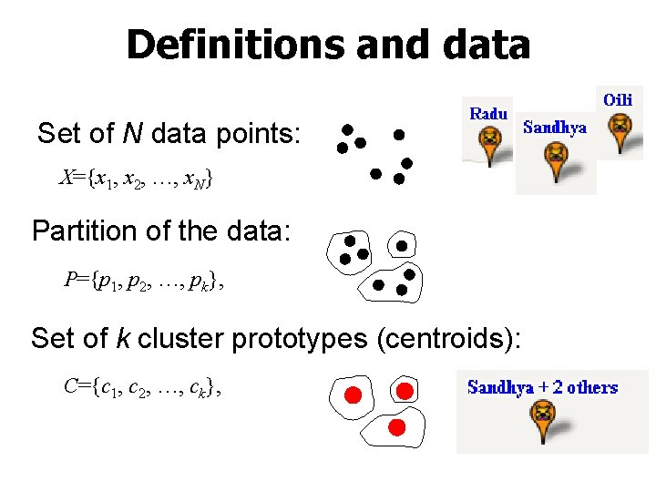 Definitions and data Set of N data points: X={x 1, x 2, …, x.
