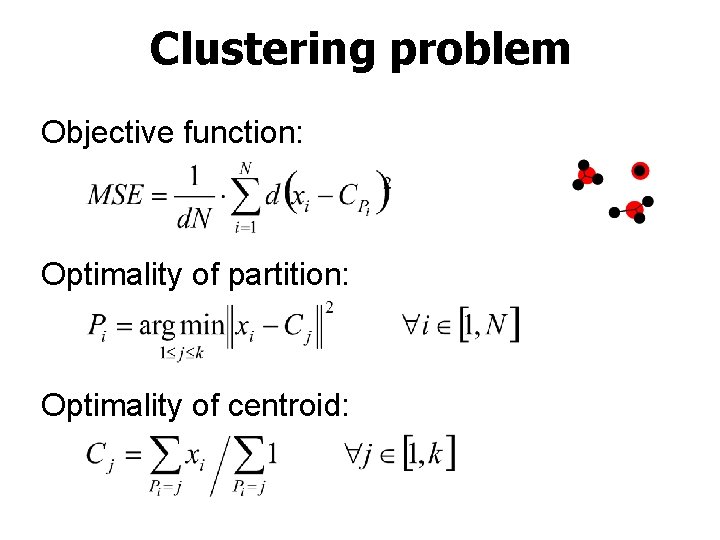 Clustering problem Objective function: Optimality of partition: Optimality of centroid: