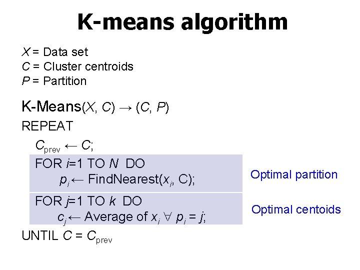 K-means algorithm X = Data set C = Cluster centroids P = Partition K-Means(X,