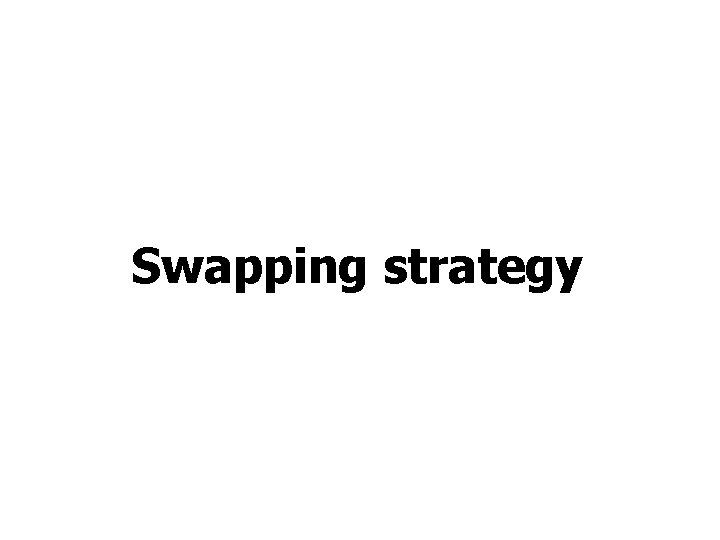 Swapping strategy