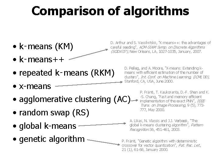 """Comparison of algorithms • k‑means (KM) D. Arthur and S. Vassilvitskii, """"K-means++: the advantages"""