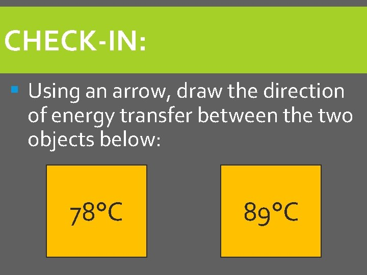 CHECK-IN: § Using an arrow, draw the direction of energy transfer between the two