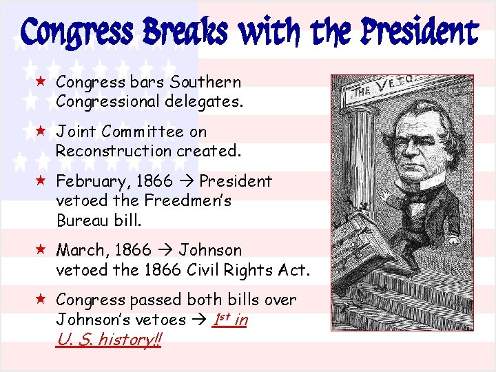 Congress Breaks with the President « Congress bars Southern Congressional delegates. « Joint Committee