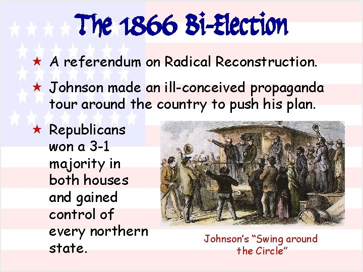 The 1866 Bi-Election « A referendum on Radical Reconstruction. « Johnson made an ill-conceived