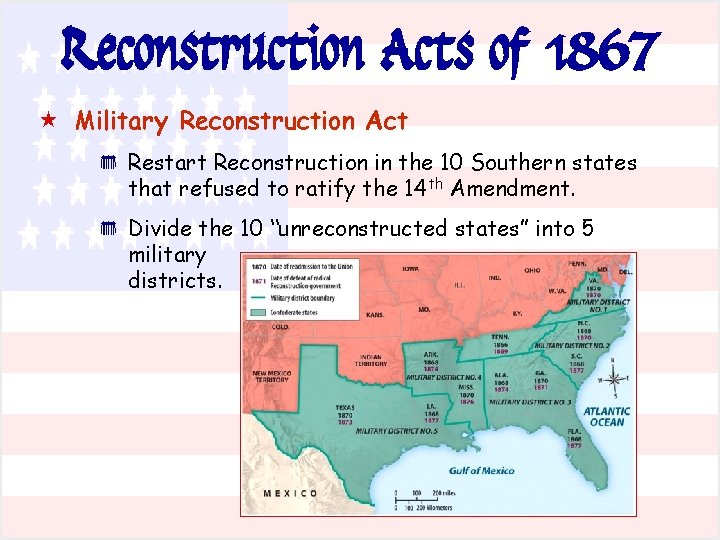 Reconstruction Acts of 1867 « Military Reconstruction Act * * Restart Reconstruction in the