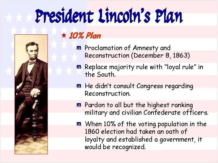 President Lincoln's Plan « 10% Plan * Proclamation of Amnesty and Reconstruction (December 8,