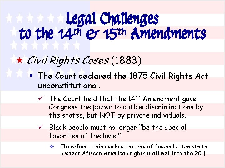 Legal Challenges to the 14 th & 15 th Amendments « Civil Rights Cases