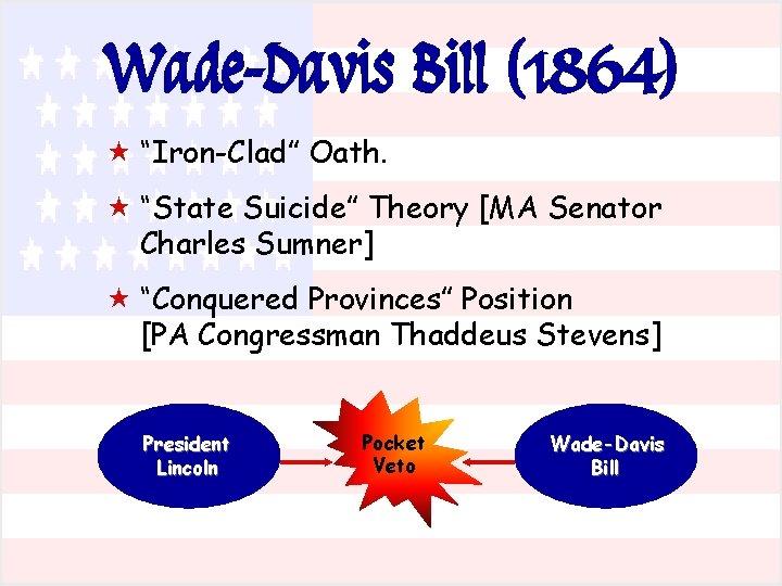 "Wade-Davis Bill (1864) « ""Iron-Clad"" Oath. « ""State Suicide"" Theory [MA Senator Charles Sumner]"