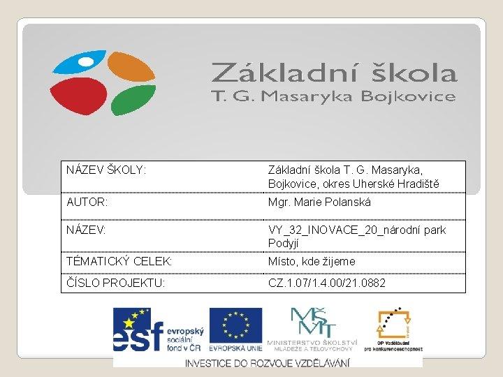 NÁZEV ŠKOLY: Základní škola T. G. Masaryka, Bojkovice, okres Uherské Hradiště AUTOR: Mgr. Marie