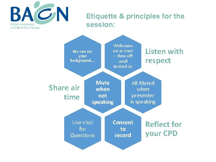 Etiquette & principles for the session: We can see your background…. Share air time
