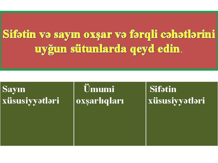 Sifətin və sayın oxşar və fərqli cəhətlərini uyğun sütunlarda qeyd edin Sayın xüsusiyyətləri Ümumi