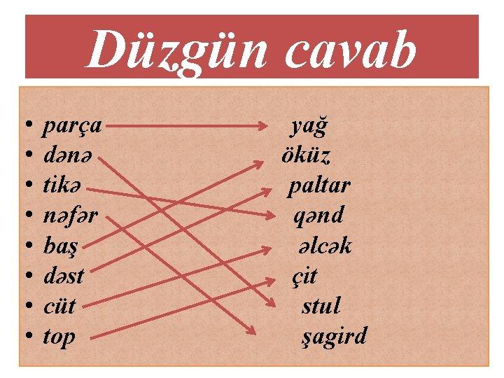Düzgün cavab • • parça dənə tikə nəfər baş dəst cüt top yağ öküz