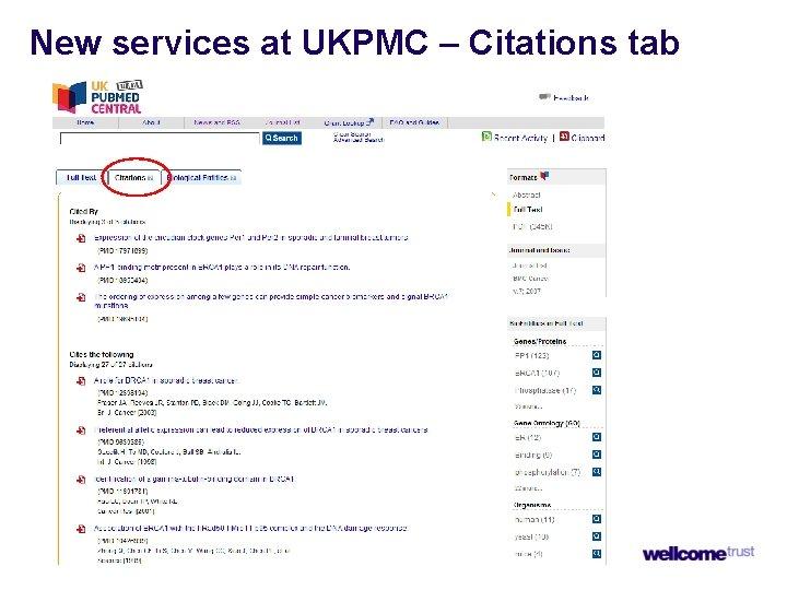 New services at UKPMC – Citations tab