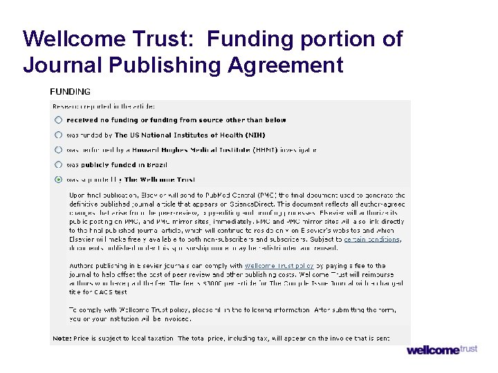 Wellcome Trust: Funding portion of Journal Publishing Agreement