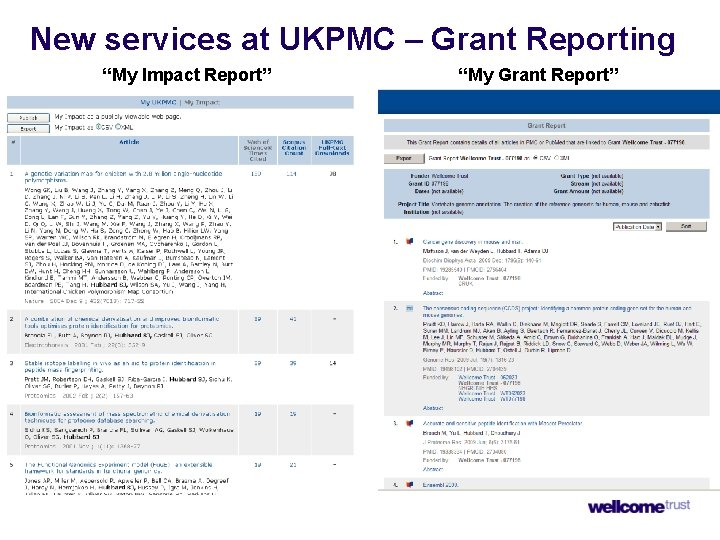 """New services at UKPMC – Grant Reporting """"My Impact Report"""" """"My Grant Report"""""""