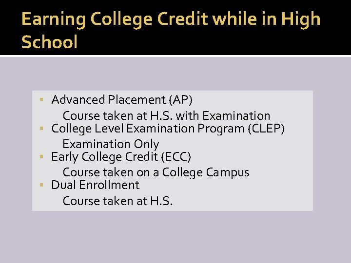 Earning College Credit while in High School Advanced Placement (AP) Course taken at H.