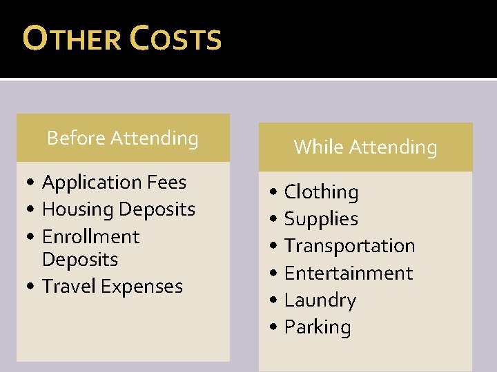 OTHER COSTS Before Attending • Application Fees • Housing Deposits • Enrollment Deposits •